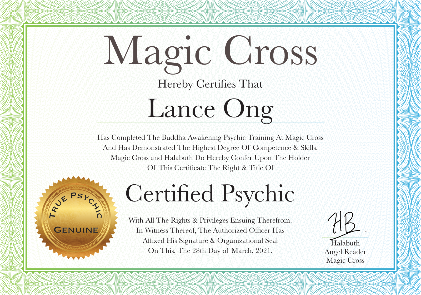 Lance Ong Certified Psychic